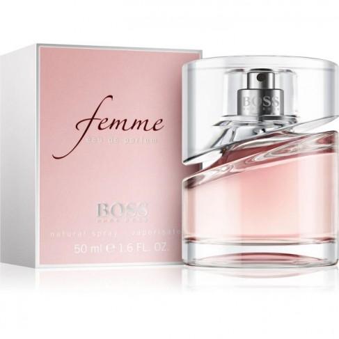 Hugo Boss Femme е женски парфюм със свеж и романтичен плодово-цветен аромат с дървесни нотки и изтънчено ухание