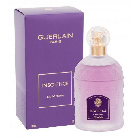 Guerlain Insolence е женски парфюм с наситен и чувствен плодово-цветен аромат, ориенталска база и съблазнително ухание