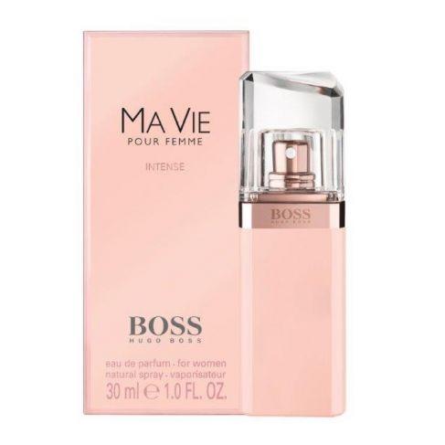 Hugo Boss Ma Vie Intense е стилен женски парфюм с интензивен цветен аромат,  дървесни тонове и чувствено ухание