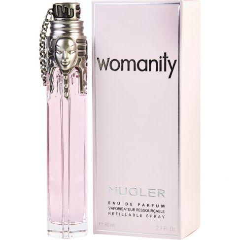Thierry Mugler Womanity е женски парфюм с много чувствен, ориенталски плодов аромат и комбинация от сладки и солени нотки