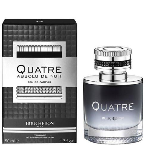 Boucheron Quatre Absolu de Nuit е луксозен мъжки парфюм с наситен и чувствен дървесен аромат, пикантни нотки и подправки